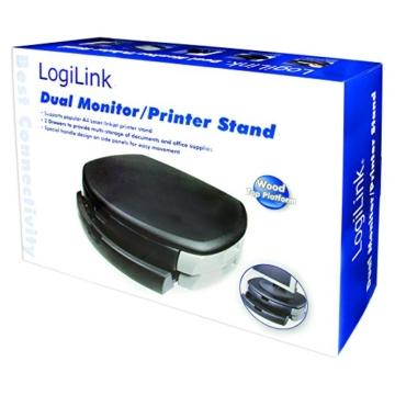 LogiLink® Bildschirm- und Druckerständer mit Stabiler Holzplatte (2cm Dicke) mit 2X Schubladen - 2