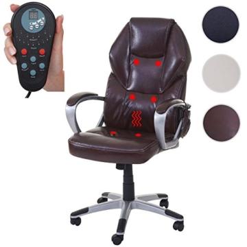 Mendler Massage-Bürostuhl HWC-A69, Drehstuhl Chefsessel, Heizfunktion Massagefunktion Kunstleder ~ Bordeaux - 3