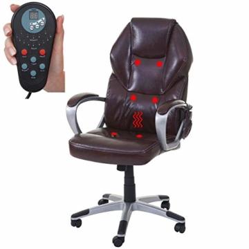Mendler Massage-Bürostuhl HWC-A69, Drehstuhl Chefsessel, Heizfunktion Massagefunktion Kunstleder ~ Bordeaux - 1
