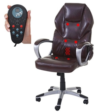 Mendler Massage-Bürostuhl HWC-A69, Drehstuhl Chefsessel, Heizfunktion Massagefunktion Kunstleder ~ Bordeaux - 5