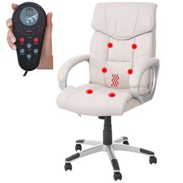 Mendler Massage-Bürostuhl HWC-A71, Drehstuhl Chefsessel, Heizfunktion Massagefunktion Kunstleder ~ Creme - 2