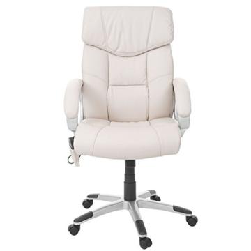Mendler Massage-Bürostuhl HWC-A71, Drehstuhl Chefsessel, Heizfunktion Massagefunktion Kunstleder ~ Creme - 3