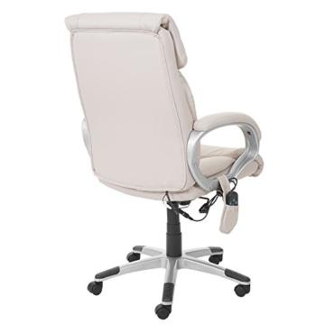 Mendler Massage-Bürostuhl HWC-A71, Drehstuhl Chefsessel, Heizfunktion Massagefunktion Kunstleder ~ Creme - 4