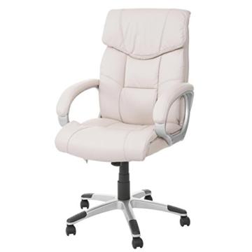 Mendler Massage-Bürostuhl HWC-A71, Drehstuhl Chefsessel, Heizfunktion Massagefunktion Kunstleder ~ Creme - 1