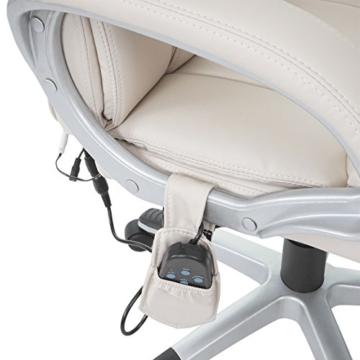 Mendler Massage-Bürostuhl HWC-A71, Drehstuhl Chefsessel, Heizfunktion Massagefunktion Kunstleder ~ Creme - 6