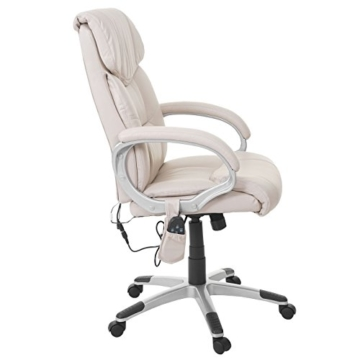 Mendler Massage-Bürostuhl HWC-A71, Drehstuhl Chefsessel, Heizfunktion Massagefunktion Kunstleder ~ Creme - 8