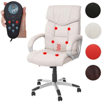 Mendler Massage-Bürostuhl HWC-A71, Drehstuhl Chefsessel, Heizfunktion Massagefunktion Kunstleder ~ Creme - 9
