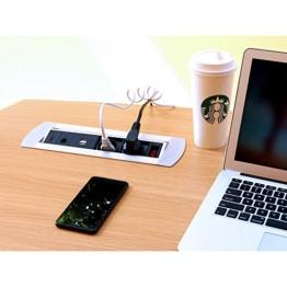 Multi Tischsteckdose 2 x Schuko Steckdose 2 x USB 1 x RJ45 1 x HDMI mit Schalter voll verkabelt - 1