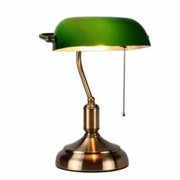 MZStech Schreibtischlampe/Bankers Lampe/Bürolampe Weißer Glasschirm, Zugschalter und LED Glühlampe 4w (Grün, Messingbasis) - 1