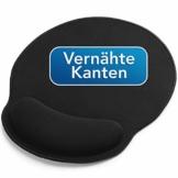 Sidorenko Mauspad mit Gelkissen - 26x23cm - Ergonomisches Mauspad mit Vernähte Kanten - Mousepad mit Handauflage für schonende Handgelenk Haltung - schwarz - 1
