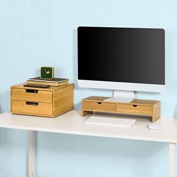 SoBuy FRG198-N Monitor Bildschirm Ständer Monitorerhöhung Bildschirmerhöher Monitorständer Tischaufsatz aus Bambus mit 2 Schubladen BHT ca.: 47x18x11cm - 2