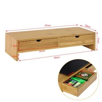 SoBuy FRG198-N Monitor Bildschirm Ständer Monitorerhöhung Bildschirmerhöher Monitorständer Tischaufsatz aus Bambus mit 2 Schubladen BHT ca.: 47x18x11cm - 3