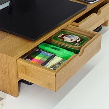SoBuy FRG198-N Monitor Bildschirm Ständer Monitorerhöhung Bildschirmerhöher Monitorständer Tischaufsatz aus Bambus mit 2 Schubladen BHT ca.: 47x18x11cm - 4
