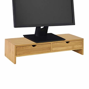 SoBuy FRG198-N Monitor Bildschirm Ständer Monitorerhöhung Bildschirmerhöher Monitorständer Tischaufsatz aus Bambus mit 2 Schubladen BHT ca.: 47x18x11cm - 1