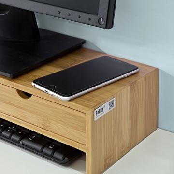 SoBuy FRG198-N Monitor Bildschirm Ständer Monitorerhöhung Bildschirmerhöher Monitorständer Tischaufsatz aus Bambus mit 2 Schubladen BHT ca.: 47x18x11cm - 5