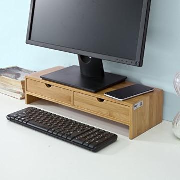 SoBuy FRG198-N Monitor Bildschirm Ständer Monitorerhöhung Bildschirmerhöher Monitorständer Tischaufsatz aus Bambus mit 2 Schubladen BHT ca.: 47x18x11cm - 7