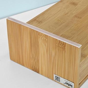SoBuy FRG198-N Monitor Bildschirm Ständer Monitorerhöhung Bildschirmerhöher Monitorständer Tischaufsatz aus Bambus mit 2 Schubladen BHT ca.: 47x18x11cm - 8