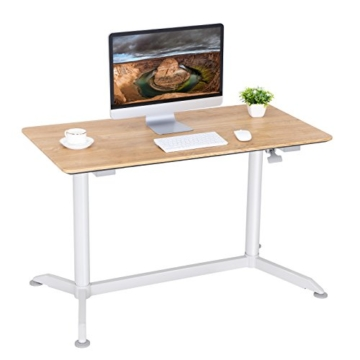 SONGMICS höhenverstellbarer Schreibtisch, Sitz-Stehtisch mit verstellbaren Füße, höhenverstellbarer Arbeitsplatz für Computer, Monitore und Laptops, natürliche Maserung, LAD08NW - 4