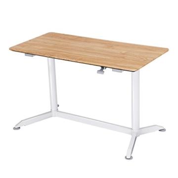 SONGMICS höhenverstellbarer Schreibtisch, Sitz-Stehtisch mit verstellbaren Füße, höhenverstellbarer Arbeitsplatz für Computer, Monitore und Laptops, natürliche Maserung, LAD08NW - 1