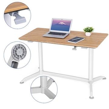 SONGMICS höhenverstellbarer Schreibtisch, Sitz-Stehtisch mit verstellbaren Füße, höhenverstellbarer Arbeitsplatz für Computer, Monitore und Laptops, natürliche Maserung, LAD08NW - 7
