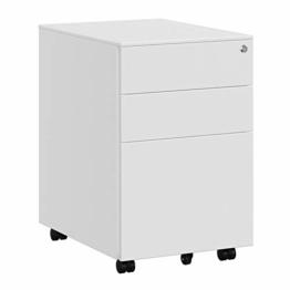 SONGMICS Stahl Rollcontainer mit 3 Schubladen und Hängeregistratur Abschließbarer Büroschrank, Schrankkorpus Vormontiert, 39 x 60 x 52 cm Weiß OFC60WT - 1