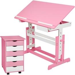 TecTake 800062 Kinderschreibtisch mit Rollcontainer Schreibtisch neig- & höhenverstellbar -Diverse Farben- (Pink   Nr. 401240) - 1