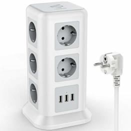 TESSAN 11 Fach Steckdosenleiste (2500W/10A) 3 USB Mehrfachsteckdose mit Schalter, Mehrfachstecker Steckerleiste Überspannungschutz verteilersteckdose Stromverteiler für Zuhause Büro, 2M, Weiß - 1