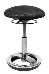 Topstar Sitness Bob, ergonomischer Sitzhocker, Arbeitshocker, Bürohocker mit Schwingeffekt, Sitzhöhenverstellung, Standfußring Alu, poliert, Stoffbezug, schwarz - 1