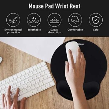 Umitive Mousepad mit Handauflage, Ergonomisch Mauspad Tastatur Handgelenkauflage Set with Memory-Schaum, Rutschfeste, Langlebig, Komfortabel, Anti-Sehnenscheiden für Computer Laptop (Schwarz) - 2