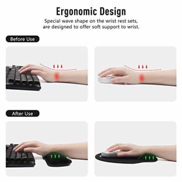 Umitive Mousepad mit Handauflage, Ergonomisch Mauspad Tastatur Handgelenkauflage Set with Memory-Schaum, Rutschfeste, Langlebig, Komfortabel, Anti-Sehnenscheiden für Computer Laptop (Schwarz) - 3