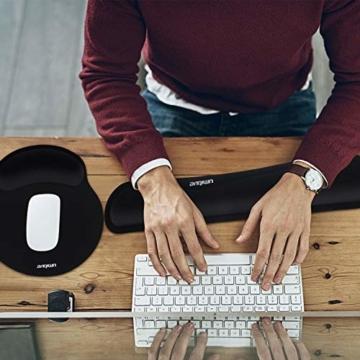 Umitive Mousepad mit Handauflage, Ergonomisch Mauspad Tastatur Handgelenkauflage Set with Memory-Schaum, Rutschfeste, Langlebig, Komfortabel, Anti-Sehnenscheiden für Computer Laptop (Schwarz) - 5