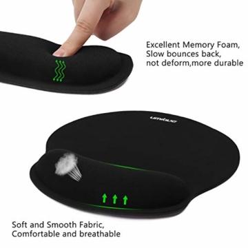 Umitive Mousepad mit Handauflage, Ergonomisch Mauspad Tastatur Handgelenkauflage Set with Memory-Schaum, Rutschfeste, Langlebig, Komfortabel, Anti-Sehnenscheiden für Computer Laptop (Schwarz) - 7