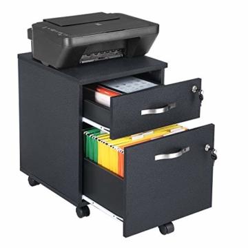 VASAGLE Rollcontainer, abschließbar, Aktenschrank mit 2 Schubladen, 5 Rollen und Verstellbarer Hängeregistratur, für Dokumente im A4- und Letter-Format, Home Office, schwarz LCD22BV1 - 2