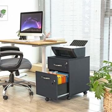 VASAGLE Rollcontainer, abschließbar, Aktenschrank mit 2 Schubladen, 5 Rollen und Verstellbarer Hängeregistratur, für Dokumente im A4- und Letter-Format, Home Office, schwarz LCD22BV1 - 3