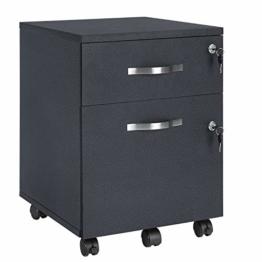 VASAGLE Rollcontainer, abschließbar, Aktenschrank mit 2 Schubladen, 5 Rollen und Verstellbarer Hängeregistratur, für Dokumente im A4- und Letter-Format, Home Office, schwarz LCD22BV1 - 1