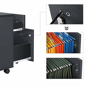 VASAGLE Rollcontainer, abschließbar, Aktenschrank mit 2 Schubladen, 5 Rollen und Verstellbarer Hängeregistratur, für Dokumente im A4- und Letter-Format, Home Office, schwarz LCD22BV1 - 4