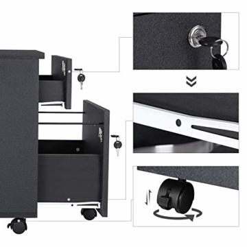 VASAGLE Rollcontainer, abschließbar, Aktenschrank mit 2 Schubladen, 5 Rollen und Verstellbarer Hängeregistratur, für Dokumente im A4- und Letter-Format, Home Office, schwarz LCD22BV1 - 5