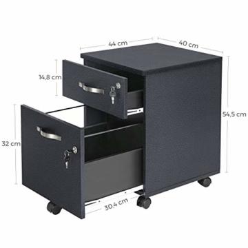 VASAGLE Rollcontainer, abschließbar, Aktenschrank mit 2 Schubladen, 5 Rollen und Verstellbarer Hängeregistratur, für Dokumente im A4- und Letter-Format, Home Office, schwarz LCD22BV1 - 6