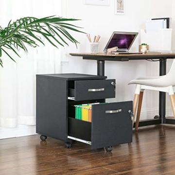 VASAGLE Rollcontainer, abschließbar, Aktenschrank mit 2 Schubladen, 5 Rollen und Verstellbarer Hängeregistratur, für Dokumente im A4- und Letter-Format, Home Office, schwarz LCD22BV1 - 7