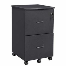 VASAGLE Rollcontainer mit Schloss und Schubladen, abschließbarer Aktenschrank mit Verstellbarer Hängeregistratur, Granit-Schwarz LCD27BKV1 - 1